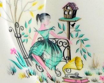 Mid Century Retro Swinnerton's Charming Garden + Bird Table 5 Hand-Painted Dessert/Ice Cream/Sweet Bowls 1950s