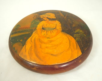Antique Painted Lady Jewellery Box, Beautiful 19thC Large Wooden Treen Hand-Painted Victorian Young Woman Circular Lidded Trinket Dish