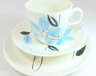 Art Deco Sky Blue Trio, Artistic Barker Bros Handpainted Blue and Black Flower China Cup Saucer & Teaplate Set 1940s
