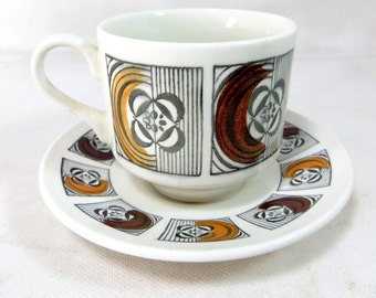 Mid Century Geometric Duo, Retro Broadhurst Kathy Winkle Modernist Earthy Ochre Colours Geometric Cup/Saucer 1970s 4 available