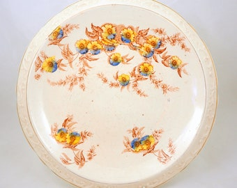Victorian Ironstone Platter, 19th Century Brown Underglaze Transferware Relief Moulded Bread Plate with Yellow & Blue Prunus Flowers