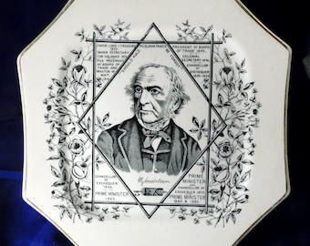 Antique Victorian Wallis Gimpson & Co 'William Gladstone' Octagonal Ironstone Portrait Plate 1886 Transfer-Printed in Black