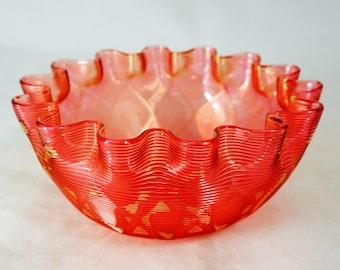 19thC Stevens & Williams Bowl, Stourbridge Handblown Diamond Quilted Airtrap Jewel Cranberry + Gold Glass Posy Vase Bonbon Candy Dish 1880s
