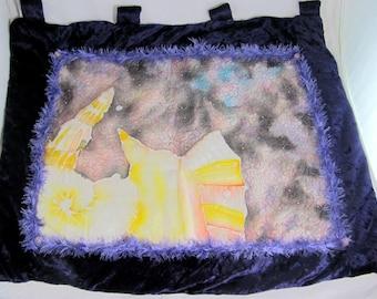 Vintage Boho Hippy Hand-Embroidered Purple Velvet Beaded Abstract Seashells Marine Wall Hanging 1970s