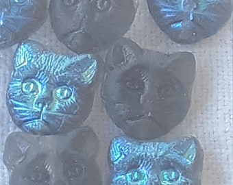 23mm Czech Glass Cat Button Royal Blue with gold details and Crystal eye