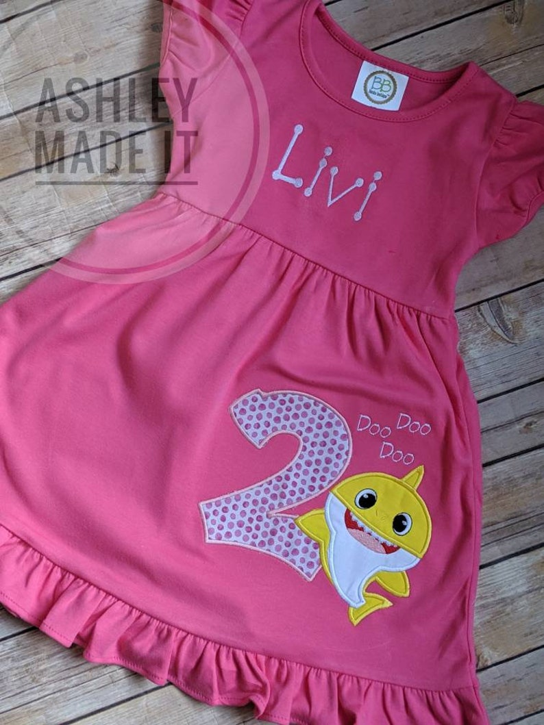 embroidered shark outfit personalized monogram Baby Shark Dress any number baby shark birthday