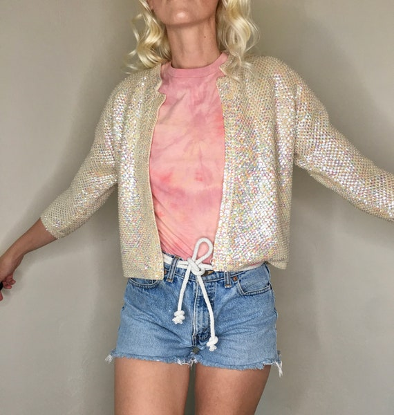 1940's iridescent sequin and beaded cropped ivory… - image 1