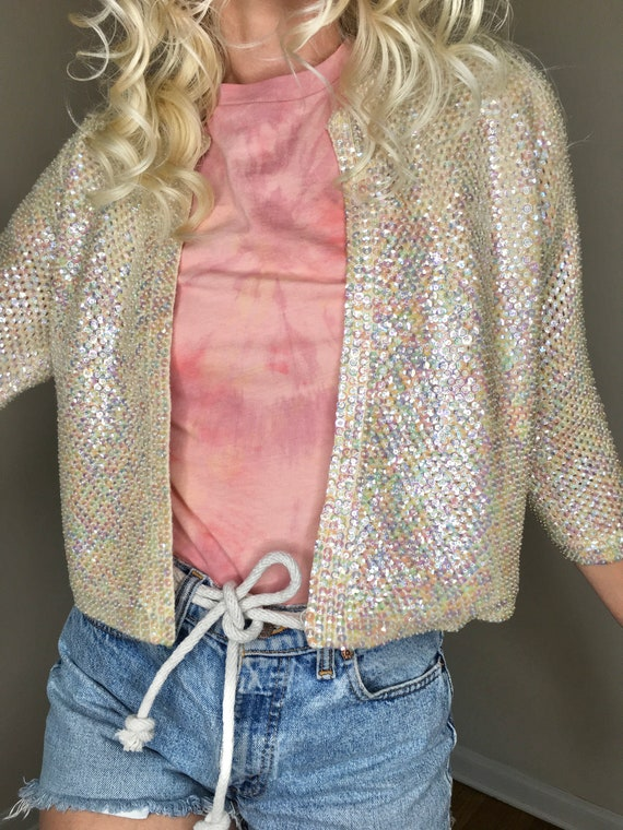 1940's iridescent sequin and beaded cropped ivory… - image 5