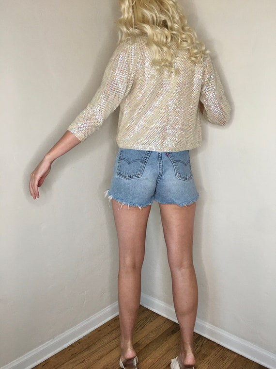 1940's iridescent sequin and beaded cropped ivory… - image 7