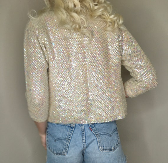 1940's iridescent sequin and beaded cropped ivory… - image 3