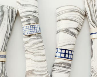 Set of 8 Modern Ceramic Napkin Rings / Blue and White / Line and Grid Pattern