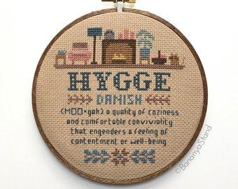 Hygge Sampler, Completed Modern Cross Stitch Embroidery Hoop Art, Word Definition Wall Art, Cozy Gift, Scandinavian Danish Decor