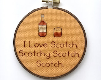 I Love Scotch, Modern Funny Completed Cross Stitch Embroidery Hoop Art, Kitchen Bar Decor, Dad Boyfriend Gift, Needlepoint