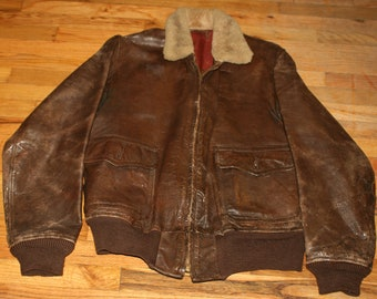 3325e60e353 Original 1943 FRIED OSTERMANN M-422A Leather G-1 Bomber Flight Jacket  Sheepskin Collar Size 40