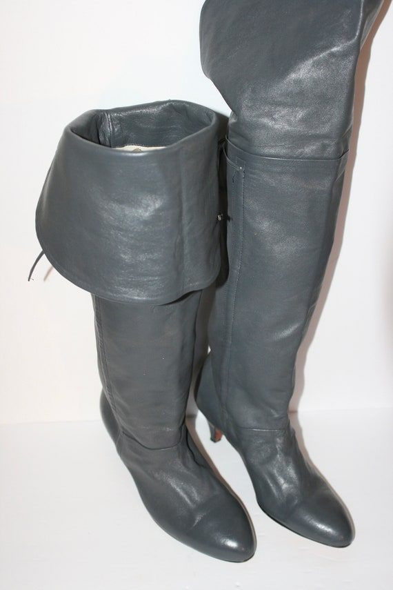 Ultra Sexy Vintage 80s Grey Leather Thigh Length H