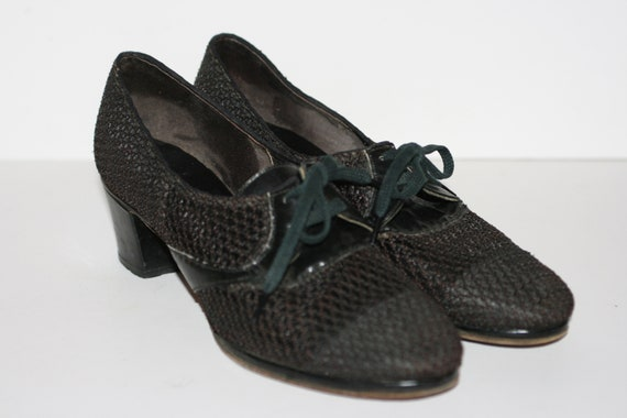 Vintage Black 1940s Nylon Mesh Womens Shoes