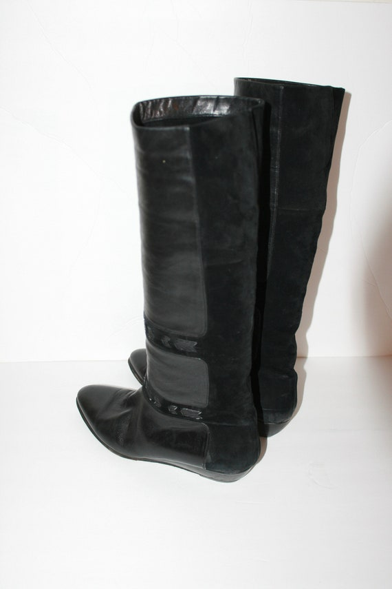 Amazing Vintage 1980s Black Leather And Suede W/ S