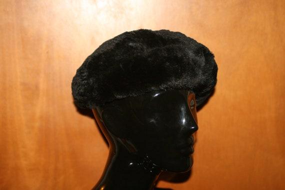 Vintage Black Fur Beret - image 2