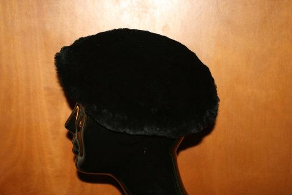 Vintage Black Fur Beret - image 4