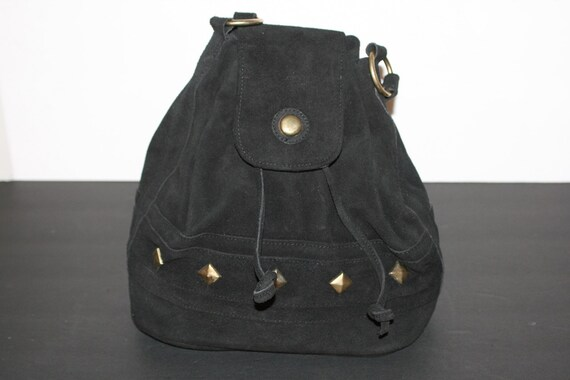 1990s Black Suede Handbag W/ Brass Stud Detail