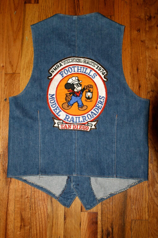 Vintage 70s Denim Vest W Mickey Mouse Railroad Patch Size 38r Medium Long Hem