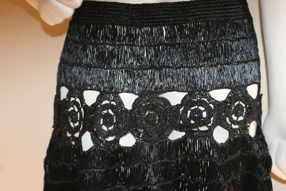 1940s Black Raffia Skirt Made In Italy Size 28