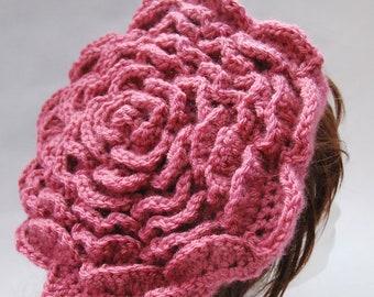Textured 3D Rose Beret