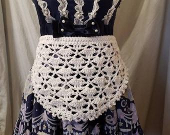 Crochet floral half apron