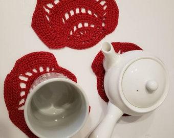 Crochet cotton Rose coaster set of 4