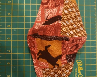 Autumn patchwork cat washable Fitted face mask