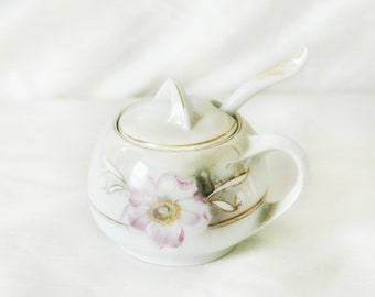 Flower Sugar Bowl with Lid and Spoon   Rounded Floral Sugar Dish   Sweet Vintage Sugar Holder with Pink and White Flowers