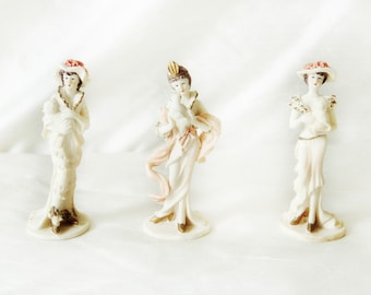 Set of Three Vintage Girl Figurines with Pets   Victorian Girl in Petticoat Figurine   Girls Holding Dog and Bird