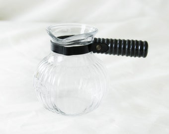 Round Pot with Handle   Mid Century Ribbed Glass Pot with Handle   Decorative Vintage Glassware