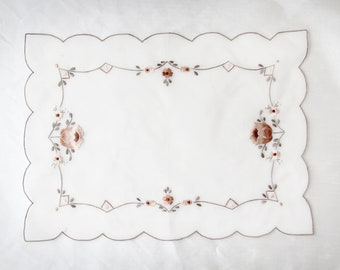 White & Floral Embroidered Table Linen   Vintage Flower Embroidery Table Runner   Table Top Decor   Embroidered Flowers Home Decor Doily