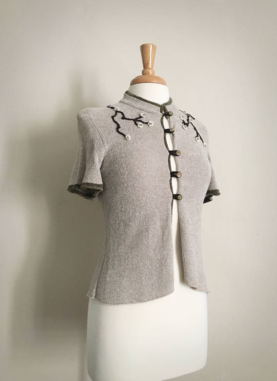 90s Handmade Sweater | Grey Floral Embroidered Car