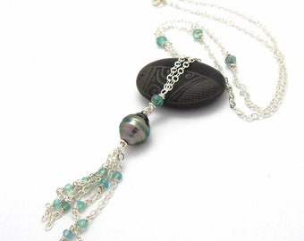 Tahitian Pearl and Apatite Silver Tassel Necklace