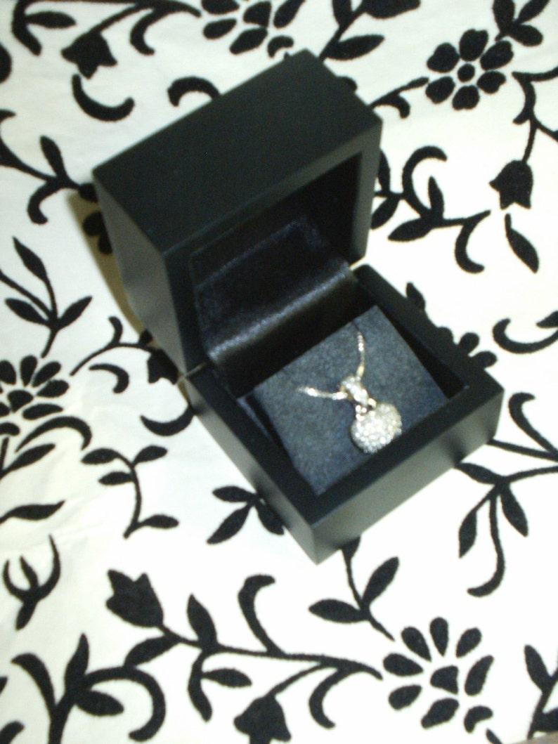 New Fancy Luxurious 100/% Genuine Wood Matte Black wood suede  studs Earrings Pendant chain necklace keepsake Gift Box