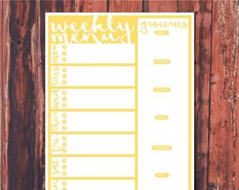 Weekly Meal Planner Instant Digital Download