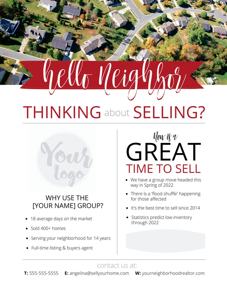 Personalized Realtor Flyer Real Estate Marketing Flyer Edit in Canva Hello Neighbor Customized Selling Flyer