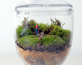 Moss terrarium // Woodland Lovers 1 // Apothecary Jar // Living Home Decor // Valentines Day Gift // Anniversary Present // Wedding Decor