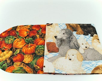 Dogs/Fall Table Cloth, Dogs/Pumpkin Table Runner-Table Cover for Dog Lovers, 42 in. x 11 in.