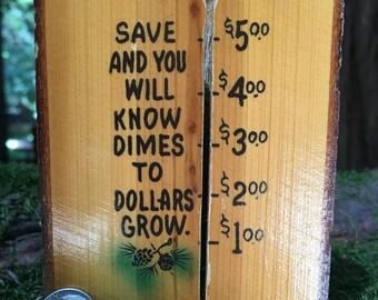 Vintage Wood Block Dime Bank