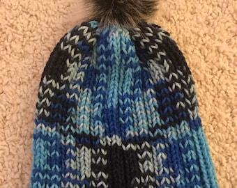 Blue gradient slouchy beanie
