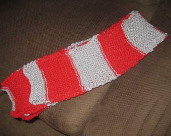 Red and Silver Striped Scarf