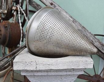 Antique Vintage Cone Shaped Unusual Colander/Strainer Primitive Kitchen