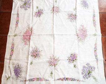 "Vintage Printed Tablecloth Pink Purple Flowers Floral Print Square 49"" x 45"""
