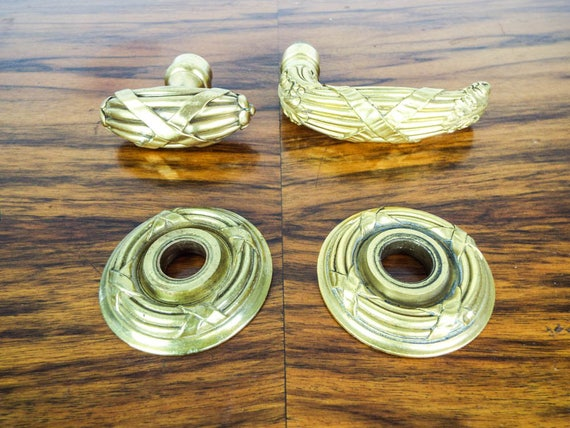 Vintage Louis Xvi Style Pattern Brass Door Knobs Strike Etsy