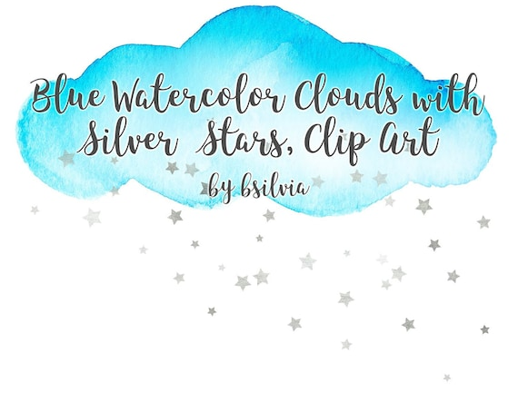 Watercolor Blue Clouds with Silver Stars Clip Art, Watercolor Clouds Transparent PNG, Watercolor Clip Art, Blue and Silver Clip Art