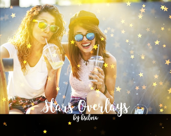 Gold Stars Overlays, Gold Stars Bokeh Photo Overlays, 18 JPG Photoshop Overlays, Holiday Photo Overlays, Christmas Stars Overlays