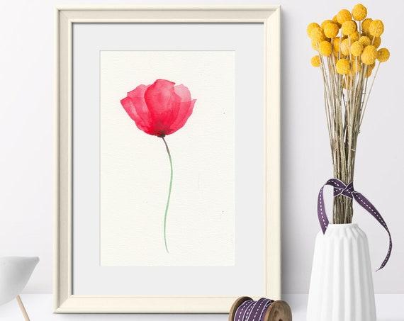 Watercolor Poppy, Original Watercolor Flower Painting, Red Poppy Watercolor Art